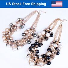 Chunky Collar Choker Pearls Multi Strands Bid Statement Plated Gold Necklace