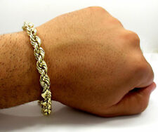 "Mens 10K Yellow Gold 5MM Rope Chain Wrist Bracelet 8"" , 9"" Inches"