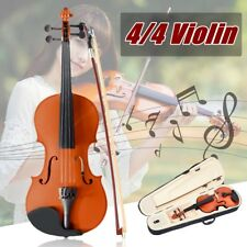 4/4 FULL SIZE WOODEN VIOLIN CASE BOW INSTRUMENT ROSIN STRINGS BEGINNERS NEW YEAR