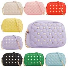 New Quilted Faux Leather Studs Detail Chain Strap Ladies Shoulder Bag Handbag