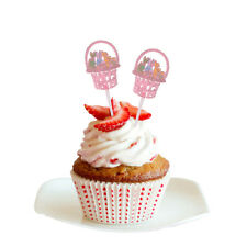 12pcs Happy Easter Bunny Rabbit Cupcake Toppers Cake Picks Festival Accessories