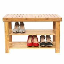 Shoe Bench 2 Tier Entryway Bathroom Shelf Bamboo Natural Storage Organizer NEW