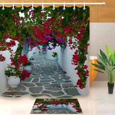 Flowers on the Narrow Streets Shower Curtain Set Bathroom Mat Waterpoof Fabric