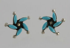 Native American Sterling Silver Zuni  Larry Delena Turquoise Star Post Earrings