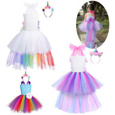 Girl Kids Fairy Cartoon Outfit Tutu Dress Rainbow Princess Party Cosplay Costume