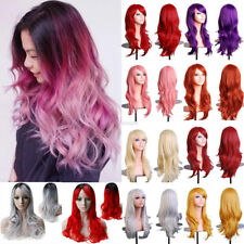80 Anime Cosplay Wig Long Straight Wave Heat Resistant Synthetic Hair Costume