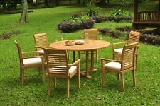 "7pc Grade-A Teak Dining Set 60"" Round Table 6 Mas Stacking Arm Chair Outdoor"