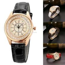 Women Rhinestones Quartz Wrist Watch Alligator Pattern Faux Leather EN24H