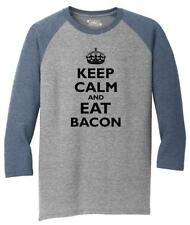 Mens Keep Calm And Eat Bacon Funny Bacon Lover Shirt 3/4 Triblend Meat Pork