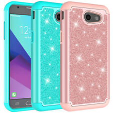 For Samsung Galaxy J3 Prime Case Glitter Bling Hard Silicone Hybrid Phone Cover