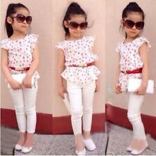 Outfits 2pcs Baby Girls Floral T-shirt Tops +Pants Set Kids Summer Clothes Sets