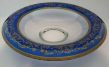 Depression Glass Cobalt Blue, Gold Encrusted Antique Bowl w/ Rolled Edge Rim 12""