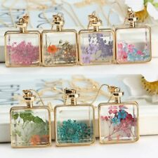 Handmade Natural Real Dried Flower Square Glass Pendant Necklace Sweater Chain