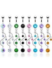 Cascade Sparkle Vine Dangle Belly Ring with Cubic Zirconia Stones