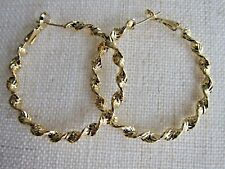 14K Yellow Gold Filled Twisted Stud Hoop Earrings - NEW.