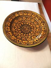 VINTAGE/ANTIQUE Moroccan Handmade Ceramic Bowl /Serving/ Wall Art EXCELLENT!