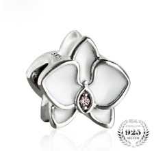 authentic Sterling Silver Charm White Enamel Orchid Beads Flowers fit bangle