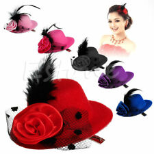 Lady Mini Feather Rose Top Hat Cap Lace fascinator Hair Clip Costume Accessory