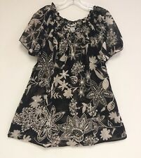Women's Embellished Black & White Fluted Sleeve Tunic Top Blouse 1X-2X-3X NWT