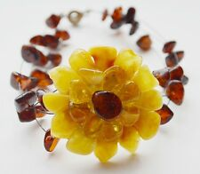 Natural Baltic Amber Beads Bracelet - Flower!