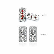 Solid 925 Silver Post White Clear Crystal CZ/Ruby Gems Square Stud Earrings Gift