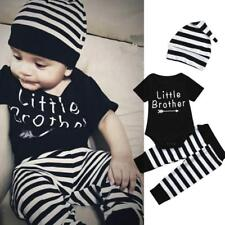 Toddler Kids Baby Boys Letter Romper Tops+Stripe Pants+Hat Outfit Clothes Set