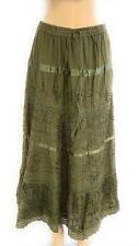 Cotton Ladies Boho Lace Trim Embroidered Tiered Peasant Sweep Skirt NWT S-M-L-X