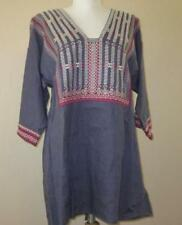 CAbi Md vintage embroidered blue tunic top shirt linen tie back boho #996 $118