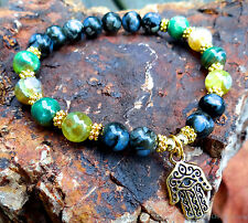 Llanite and agate bead bracelet w/ gold plated hamsa evil eye protection