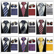 Men's Black Gray Yellow Navy Red Neckties Tie &Hanky Cufflinks Handkerchief Set!