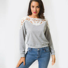 Chic Women Lace Hollow Out Long Sleeve Blouse Casual Scoop Neck Shirts Tops 2018