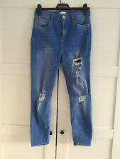 Blue Denim River Island Ripped Knee High Waisted Harper Jeans Size 12 Regular