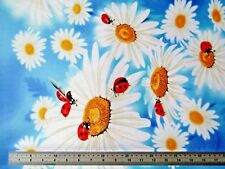 LARGE LADYBIRD AND DAISIES ON BLUE 100%  TRUE CRAFT Cotton 1.3 METRES