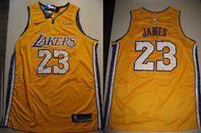 New Lebron James 23 Los Angeles Lakers Swingman Gold Yellow Wish Jersey L/XL