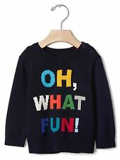 Baby GAP Size 3-6, 6-12 Mo Intarsia Fun NEW Blue Holiday Crew Sweater Pullover