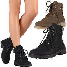 New Round Toe Lace Up Military Combat Ankle Boots Booties Lug Sole Low Flat Heel