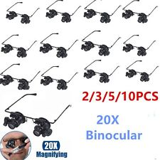 5/10PC 20X Glasses  Binocular Magnifier Watch Repair Tool with Two LED Light UT
