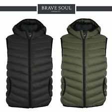Mens Brave Soul Blackburn Padded Bodywarmer Hooded Quilted Gilet Puffa Jacket