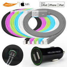 2x OEM Original Lightning USB Data Cable Car Charger for iPhone 7/6 Plus 5S iPad