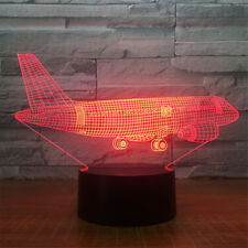 Aircraft 3D LED Night light 7 color Touch Switch Table Desk Lamp Kids Gift Home