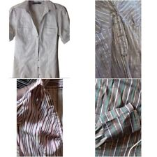 ZARA Striped Top Shirt Blouse in Brown, Burgundy, Dark grey, Silver size S M, L