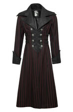 Long coat black and red straps on them sides, gothic elegant Punk Rave