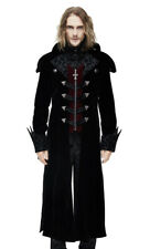 long coat velvet black for man, col effect cape, elegant ar Devil Fashio
