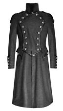Coat long dark gray with buttons and shoulder pads, gothic elegant Punk Rave