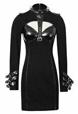 Short dress black neckline open with webbing/ straps imitation leather Punk Rave