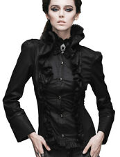 Black shirt aristocrat with rustling and lacing, gothic stylish Devil Fashio