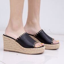 New Womens Leather Open Toe Slipper Shoes High Wedge Heel Platform Casual Sandal