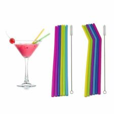6PCS Straws Reusable Silicone Drinking Straw with Cleaning Brushes Set Best #EV