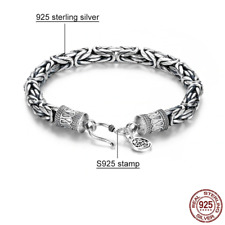 Men's Byzantine Real 925 Sterling Silver Chain Bracelet 4/5/6/7mm Free Gift Box