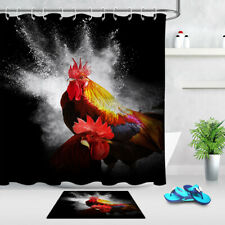 "72x72"" Colored Big Cock Shower Curtain Set Bathroom Fabric Bath Curtains Hooks"